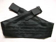 Cummerbund MENS Broad Sash Adjustable PLEATED Classic Style Black Solid