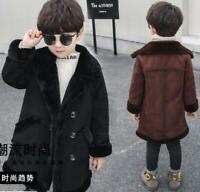 Winter Children Jacket Boy's Warm Woolen Coat Long Children's Fur Lined Parka