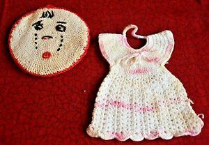 2 Hand Crochet Cotton Dress Sad Face Pot Holders Hot Pads Doilies Kitchen Decor