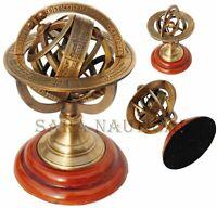 Antique Astrolabe Brass Sphere Armillary Collectible Nautical Decor Wooden Base
