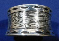 Overlay Textured Handmade Cuff Bracelet Artisan 950 Silver Cut Out