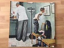 "Norman Rockwell Puzzle Picture At The Doctor, Before the Shot 25""x25"" Home Decor"