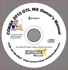 COBRA 2010 GTL WX  CD OWNER'S MANUAL+ Microphone Diagram CB Radio CD MANUAL ONLY