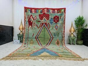 "Boujaad Moroccan Handmade Vintage Rug 6'3""x10'1"" Berber Geometric Green Red Rug"
