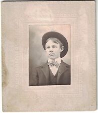 Small Cabinet Photo of young teen male with hat and suit on, estimate 1900 era.