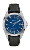 Bulova Precisionist Men's Quartz UHF Blue Dial Black Leather 43mm Watch 96B257