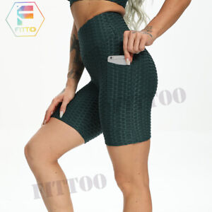 2 in1Womens High waist Yoga Pocket Hot Pants TikTok Workout Sport Shorts Legging