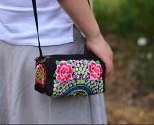 Red Rose Embroidered Change purse Coin wallet Zip Mini Messenger shoulder Bag