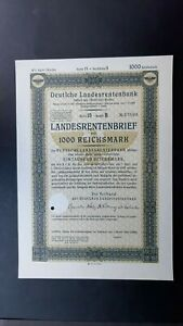 4 % Landesrentenbrief Deutsche Landesrentenbank 1000 RM o.D. Reihe 15 Berlin