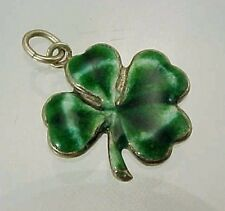 Vintage Sterling Silver Green Enamel FOUR LEAF CLOVER LUCKY SHAMROCK Charm