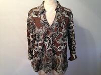 Brown Black White Paisley COLDWATER CREEK 100% Cotton 3/4 Sleeve Shirt Size PL