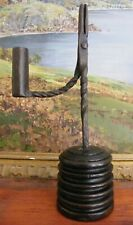 More details for a mid 18th century iron rushnip on turned wooden base rushlight rush light