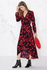 & Other Stories Black And Red Poppy Floral Print Wrap Dress Size 38 10 12