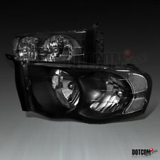 2002-2005 Dodge RAM 1500 2500 3500 Pickup Black Headlights Driving Head Lamps