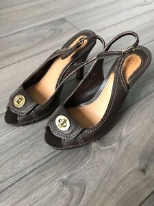 Coach Slingback Peeptoe Heels 6.5 - Made In Italy
