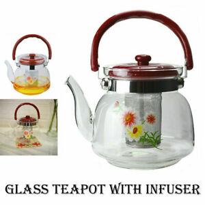 Large Heat Resistant Glass Teapot Infuser Strainer Coffee Tea Leaf Borosilicate