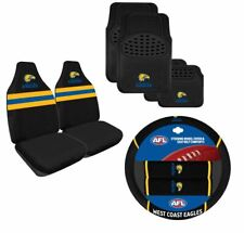 SET OF 3 WEST COAST EAGLES AFL CAR SEAT COVERS STEERING WHEEL COVER + FLOOR MATS