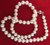 7-8mm Natural White Akoya Freshwater Pearl Necklace 18inch Long JN915