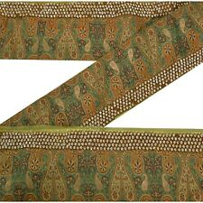 Sanskriti Vintage Decor Sari Border Hand Beaded Craft Trim Sewing Green Lace