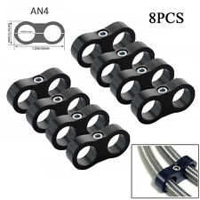 8Pcs AN4 11MM Stainless Steel Braided Hose Separator Clamp Fitting Adapter Black