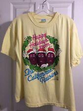 New listing vtg tee shirt happy holidays the California Raisins yellow sun sz L