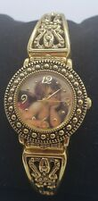 GOLD-TONE STAINLESS STEEL BACK WATCH CHERUB DIAL NEW BATTERY