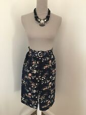New With Tags Oasis Navy Floral Paperbag Skirt Size 8 Rrp £34 house of Fraser