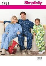 Simplicidad patrón de costura Infantil Adultos Polar Onesies Mono Perro abrigo 1731