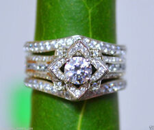 1.98CT FLORAL DIAMOND ENGAGEMENT RING WITH TWO WEDDING BAND IN 14KT WHITE GOLD