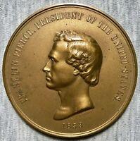 "President Franklin Pierce -In Office 1853 -1857-3"" Bronze Medal-LaborVirtueHonor"