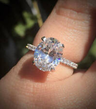 2.72Ct White Oval Solitaire Diamond Engagement Ring In 14K White Gold Certified