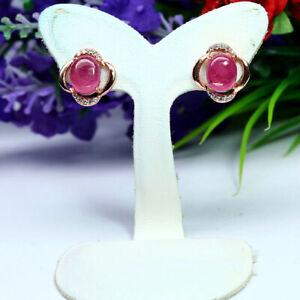 NATURAL 6 X 7 mm. RED RUBY & WHITE CZ EARRINGS 925 STERLING SILVER