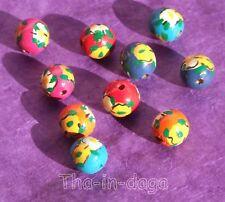 Lot 10 Perles Ø=1,5cm Bois Bijoux Artisanat Inde 10