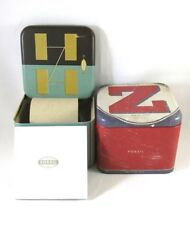 Lot Of 2 Original New FOSSIL Authentic Watch Empty Tin Box With Papers Colorful