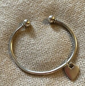 925 Silver Torc Bangle with Heart Charm - Excellent Condition