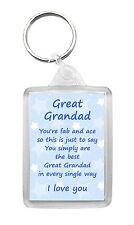 GREAT-GRANDAD Keyring Keyfob Poem Verse Birthday Christmas Fun Novelty Gift
