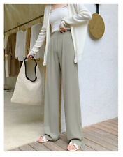 Women Student Knitted Wide-leg Trousers High Waist Loose Summer Straight Pants