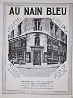 PUBLICITÉ 1932 AU NAIN BLEU JOUETS JEUX POUPÉES JEUX DE SALON RUE ST HONORÉ
