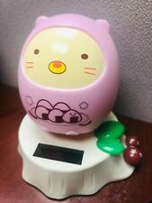 Solar Power Desk Toys Pink Sumikko Neko Cat in Dinosaur Costume Adorable Decor.