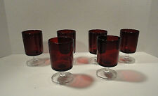 Ruby Red Arcoroc France Juice Glass Set of Six