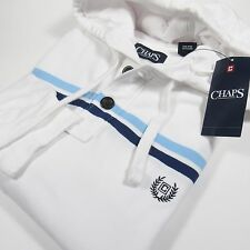 CHAPS Men's L/S Striped Polo/Henley with Hoodie WHITE Size Large NWT
