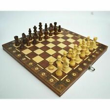 3 In 1 Magnetic Wooden International Chess Set with Folding Chessboard Game Gift