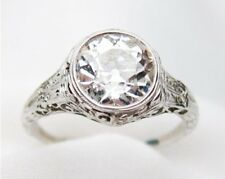 White Gold Art Deco Promise Ring Certified 1.25Ct Round White Diamond 14K Solid