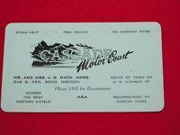 VINTAGE BUSINESS CARD CASCADE MOTOR COURT BEND OREGON MR MRS MACK