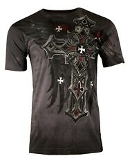 Xtreme Couture AFFLICTION Mens T-SHIRT RED FLAG CROSS Wings Tattoo Biker M $40