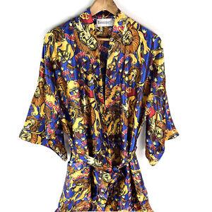 Vintage Davenport Brisbane Lions AFL Satin Dressing Gown Robe One Size