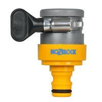 Hozelock Round Indoor Mixer Tap Outdoor Hose Pipe Connector Steel Clip 14mm-18mm