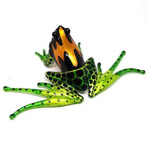 Blown Glass Green Frog Amphibian Figurine Miniatures Art Handmade
