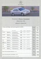 5064MB Mercedes C-Klasse Limousine 203 Preisliste 2001 29.1.01 price list