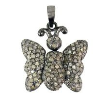 Pave Real 1.15ct Diamond BUTTERFLY Pendant Sterling Silver Vintage Style Jewelry